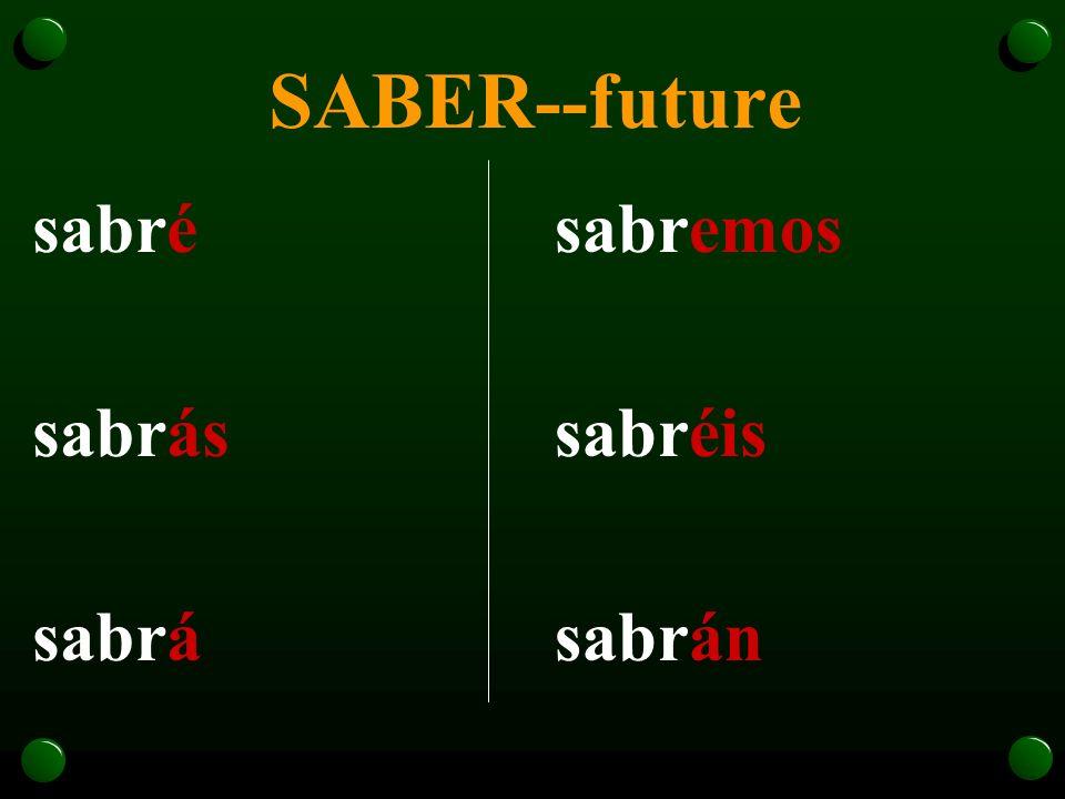SABER--future sabré sabrás sabrá sabremos sabréis sabrán