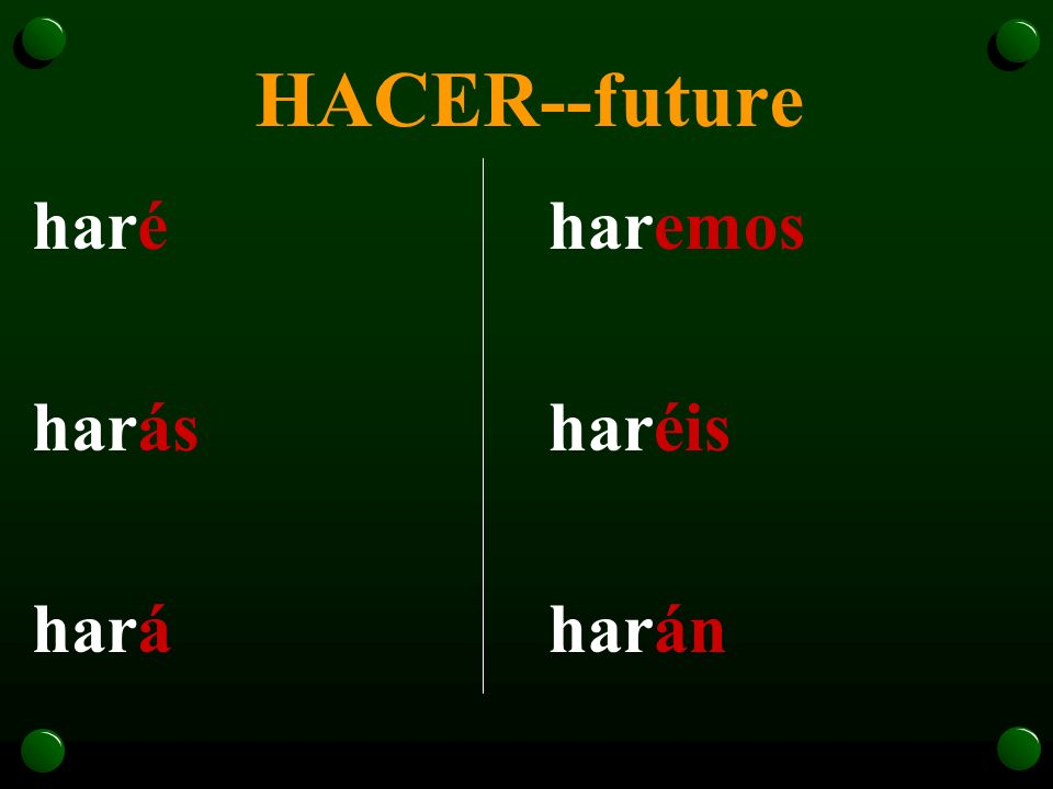 HACER--future haré harás hará haremos haréis harán