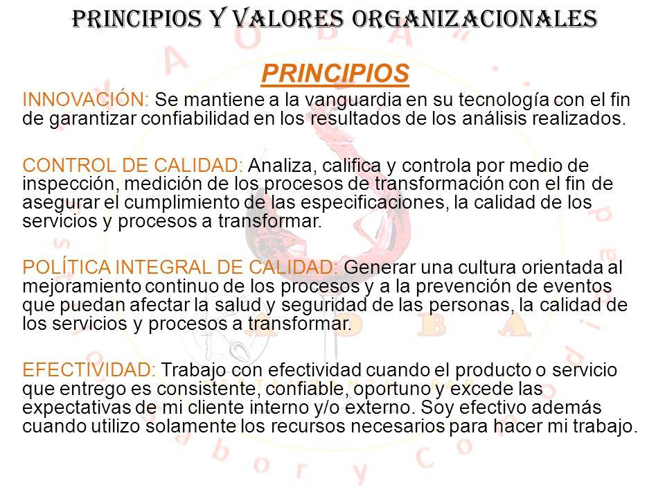 PRINCIPIOS Y VALORES ORGANIZACIONALES