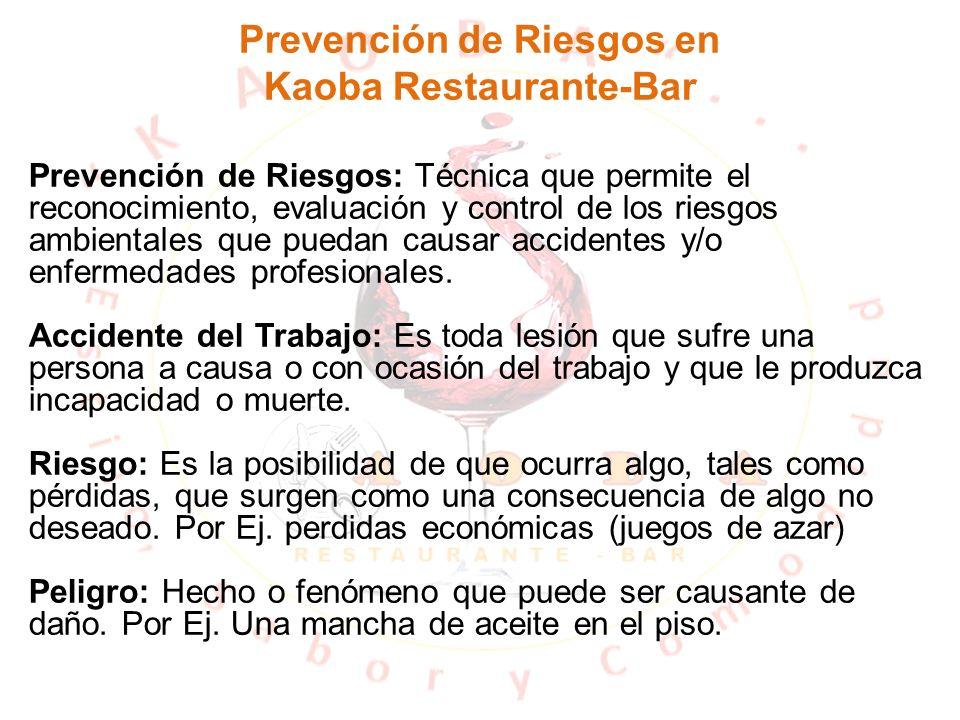 Prevención de Riesgos en Kaoba Restaurante-Bar