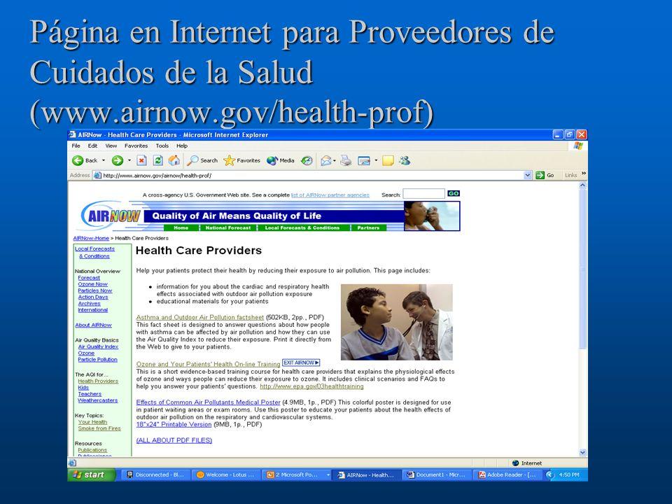 Página en Internet para Proveedores de Cuidados de la Salud (www