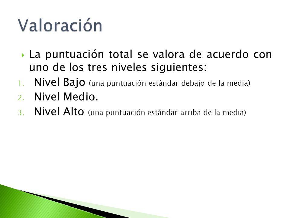 Valoración La puntuación total se valora de acuerdo con uno de los tres niveles siguientes: Nivel Bajo (una puntuación estándar debajo de la media)