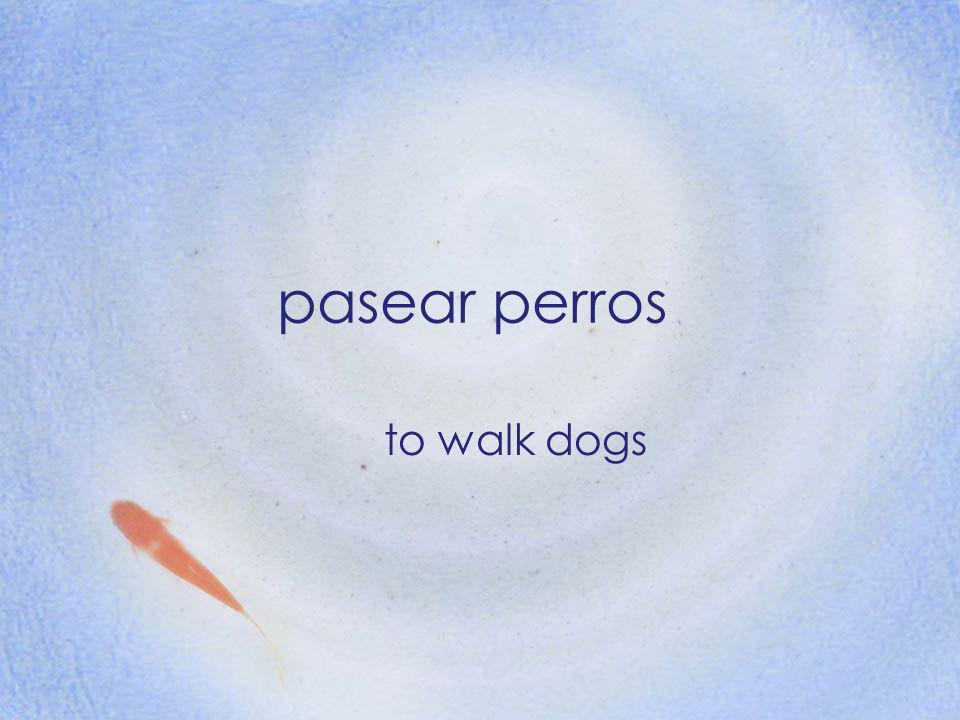 pasear perros to walk dogs