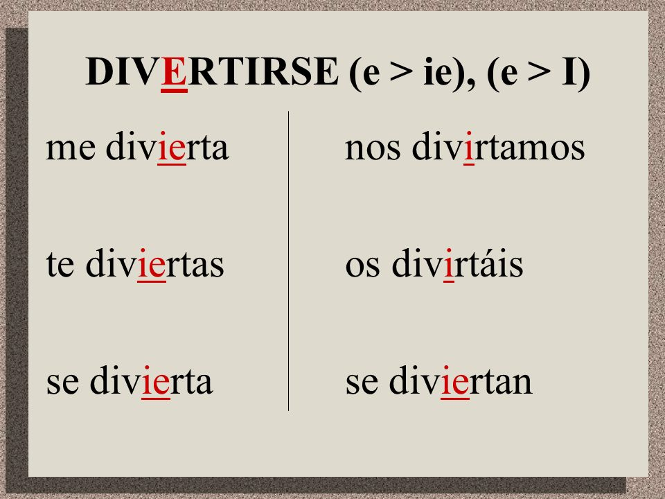 DIVERTIRSE (e > ie), (e > I)