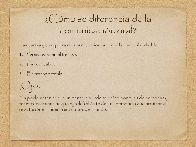 ¿Cómo se diferencia de la comunicación oral