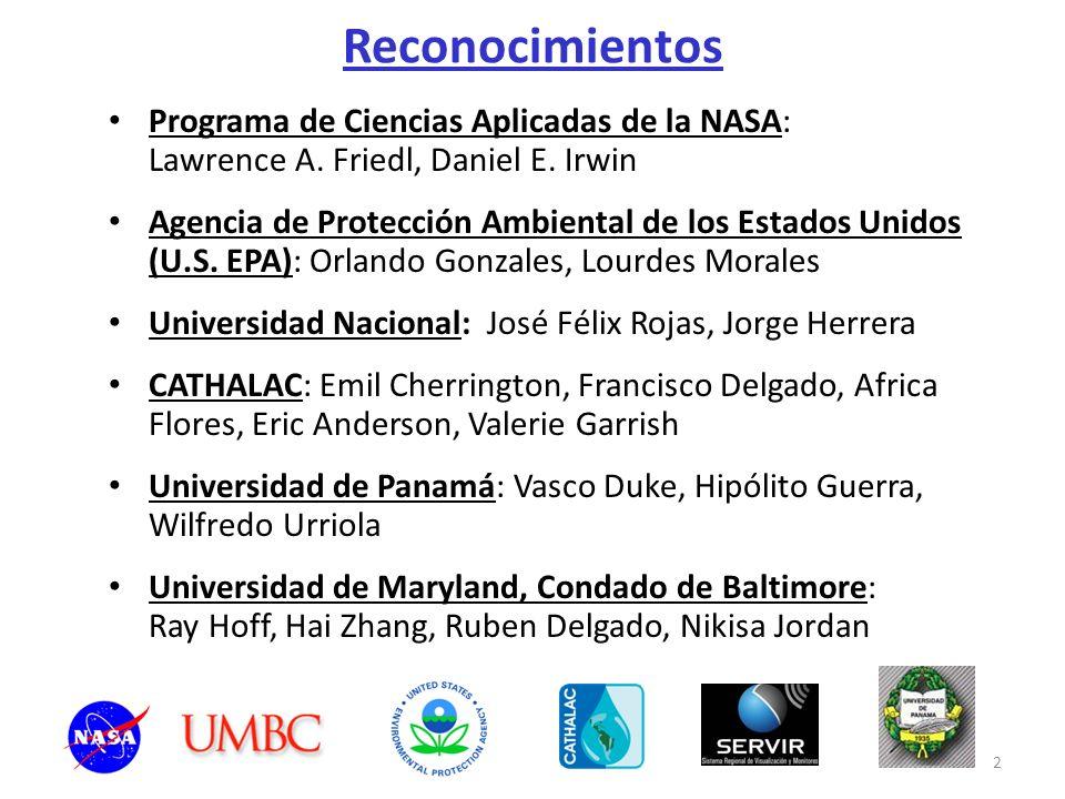 Reconocimientos Programa de Ciencias Aplicadas de la NASA: Lawrence A. Friedl, Daniel E. Irwin.