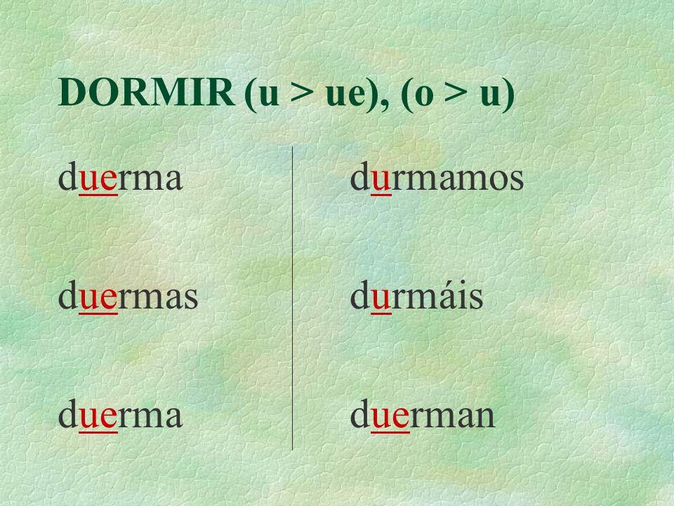 DORMIR (u > ue), (o > u)