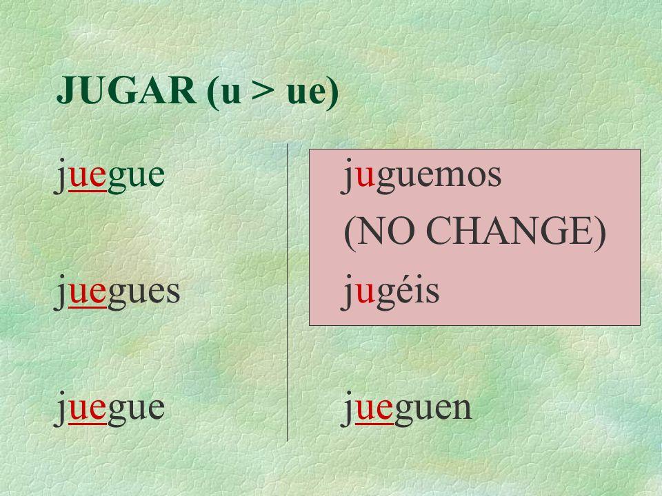 JUGAR (u > ue) juegue juegues juguemos (NO CHANGE) jugéis jueguen