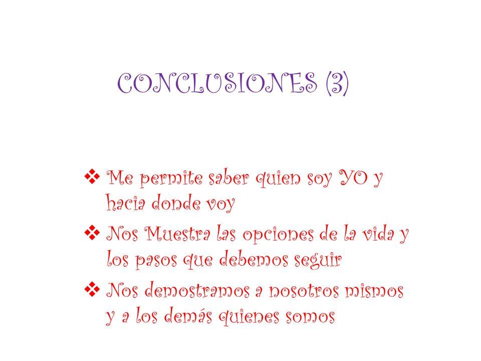 CONCLUSIONES (3) Me permite saber quien soy YO y hacia donde voy