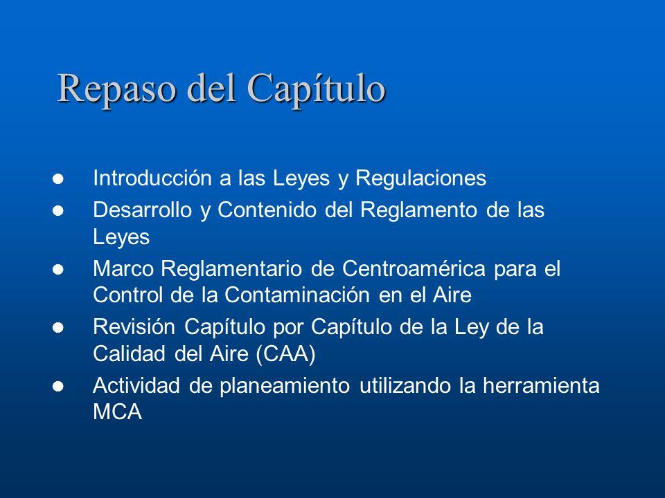Repaso del Capítulo Introducción a las Leyes y Regulaciones