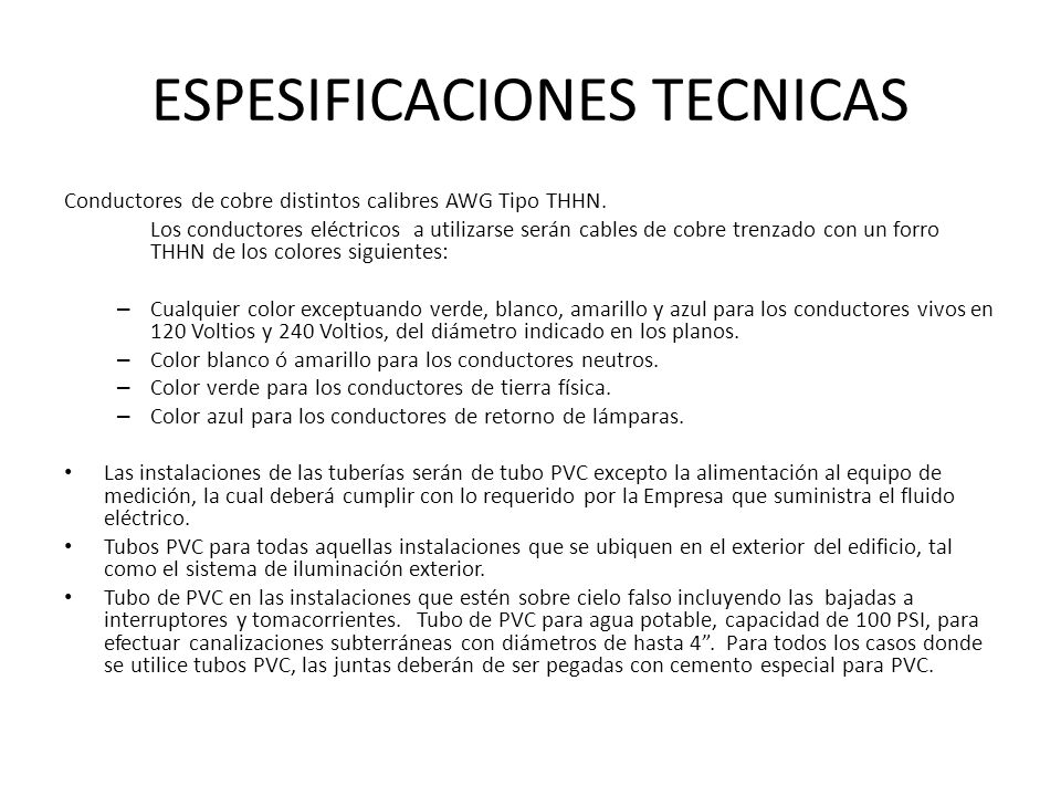 ESPESIFICACIONES TECNICAS