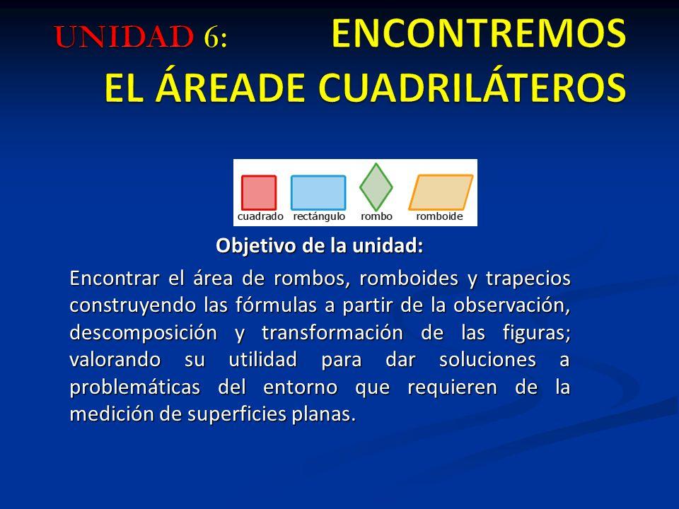 UNIDAD 6: ENCONTREMOS EL ÁREADE CUADRILÁTEROS