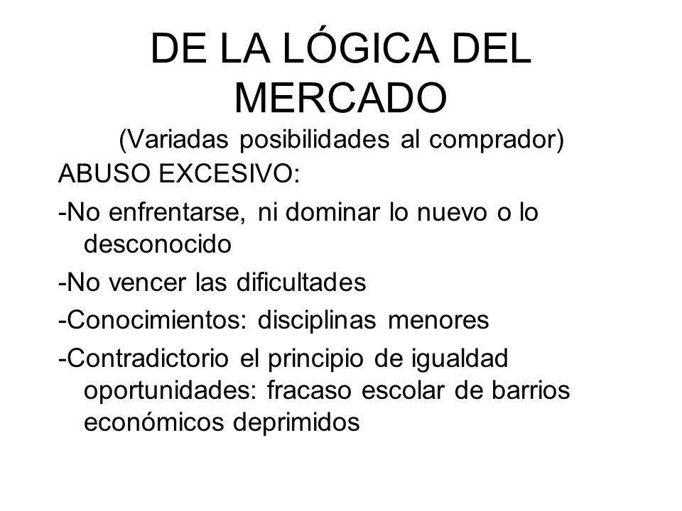 DE LA LÓGICA DEL MERCADO (Variadas posibilidades al comprador)