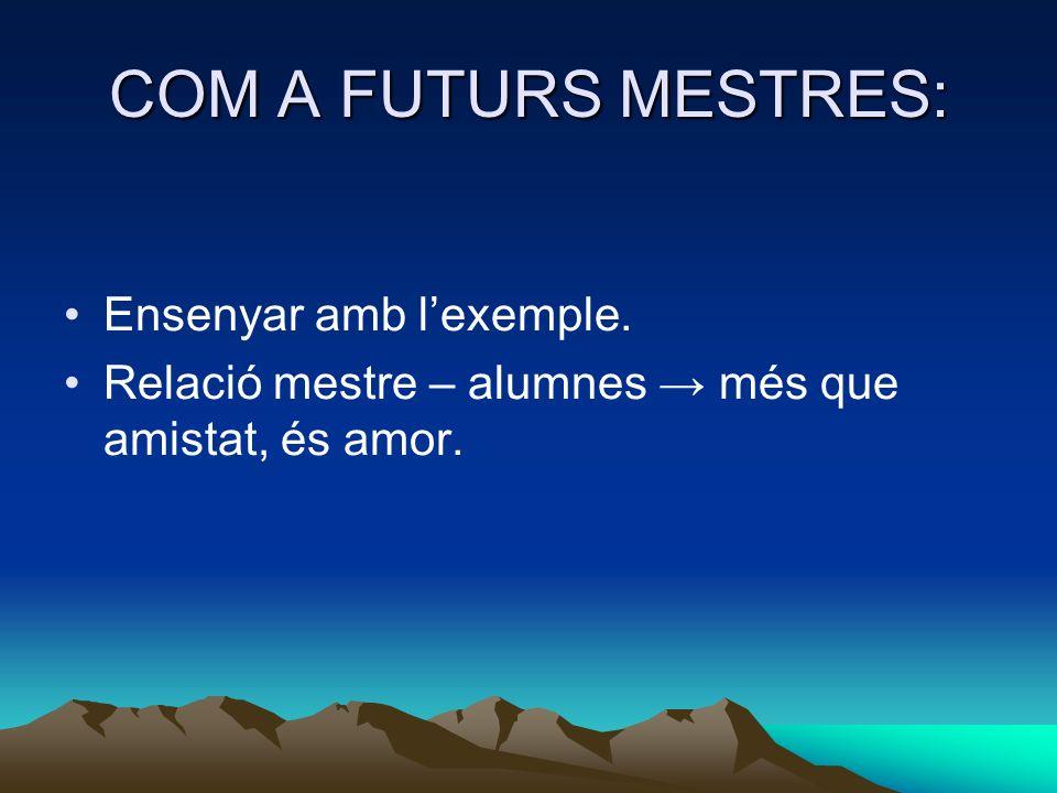 COM A FUTURS MESTRES: Ensenyar amb l'exemple.