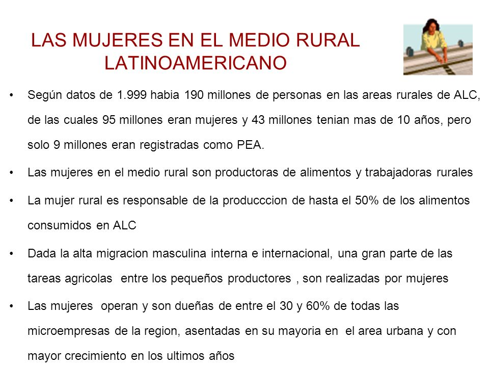 LAS MUJERES EN EL MEDIO RURAL LATINOAMERICANO