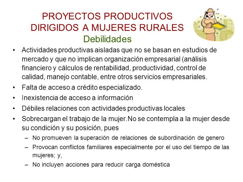 PROYECTOS PRODUCTIVOS DIRIGIDOS A MUJERES RURALES Debilidades