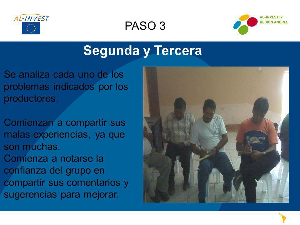 PASO 3 Segunda y Tercera. Se analiza cada uno de los problemas indicados por los productores.