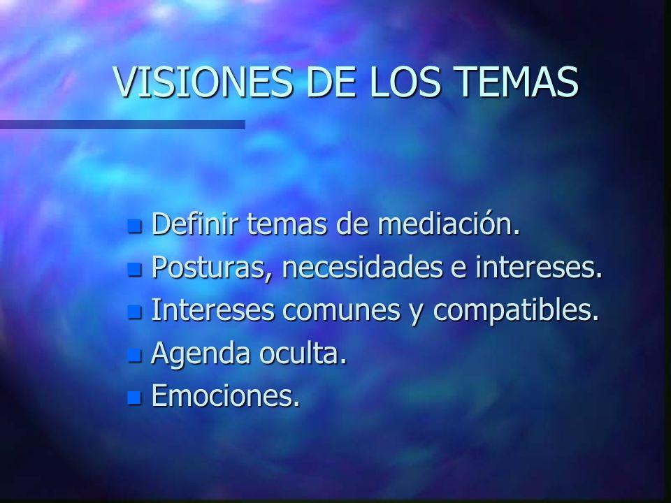VISIONES DE LOS TEMAS Definir temas de mediación.
