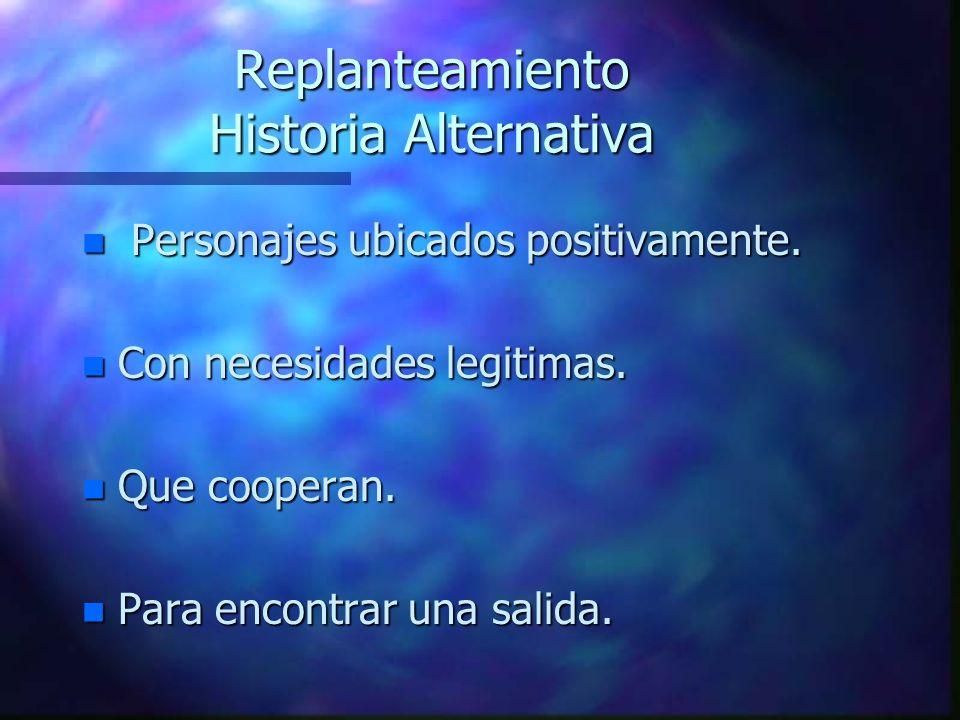 Replanteamiento Historia Alternativa