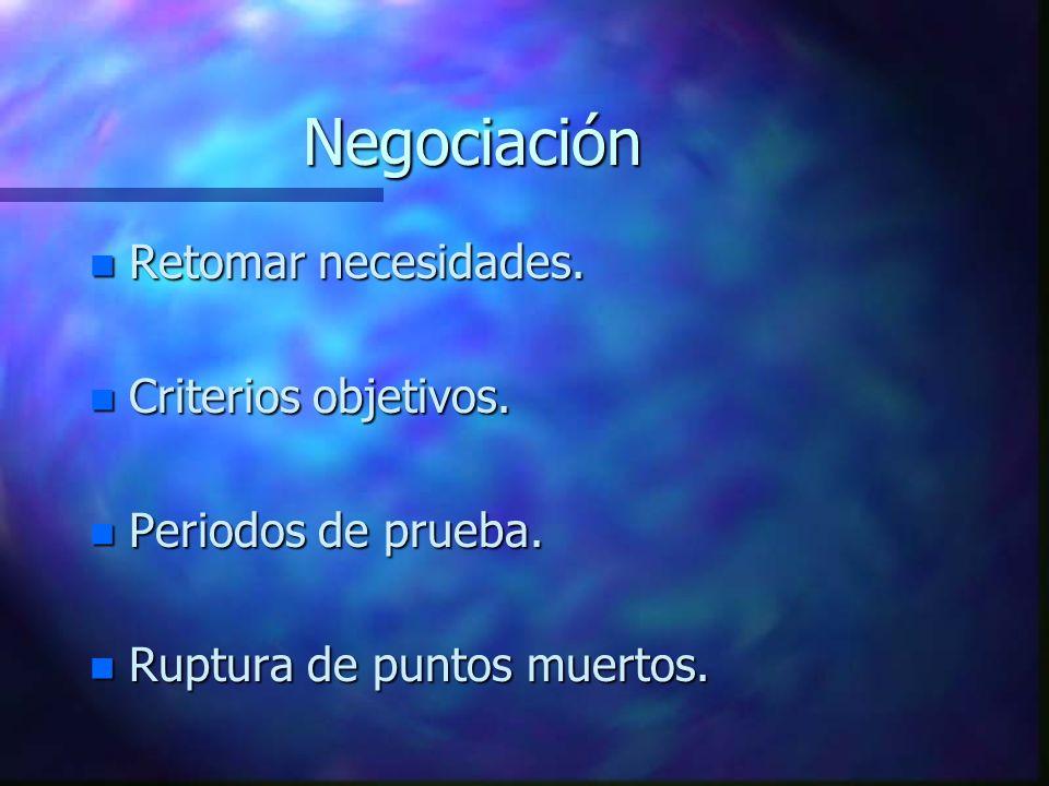 Negociación Retomar necesidades. Criterios objetivos.
