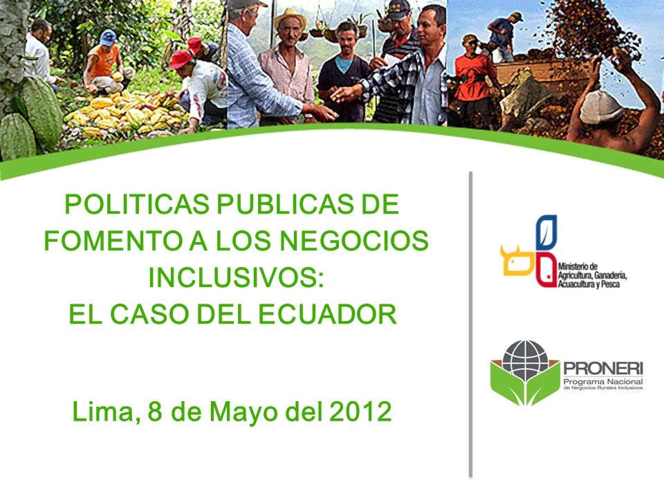 POLITICAS PUBLICAS DE FOMENTO A LOS NEGOCIOS INCLUSIVOS:
