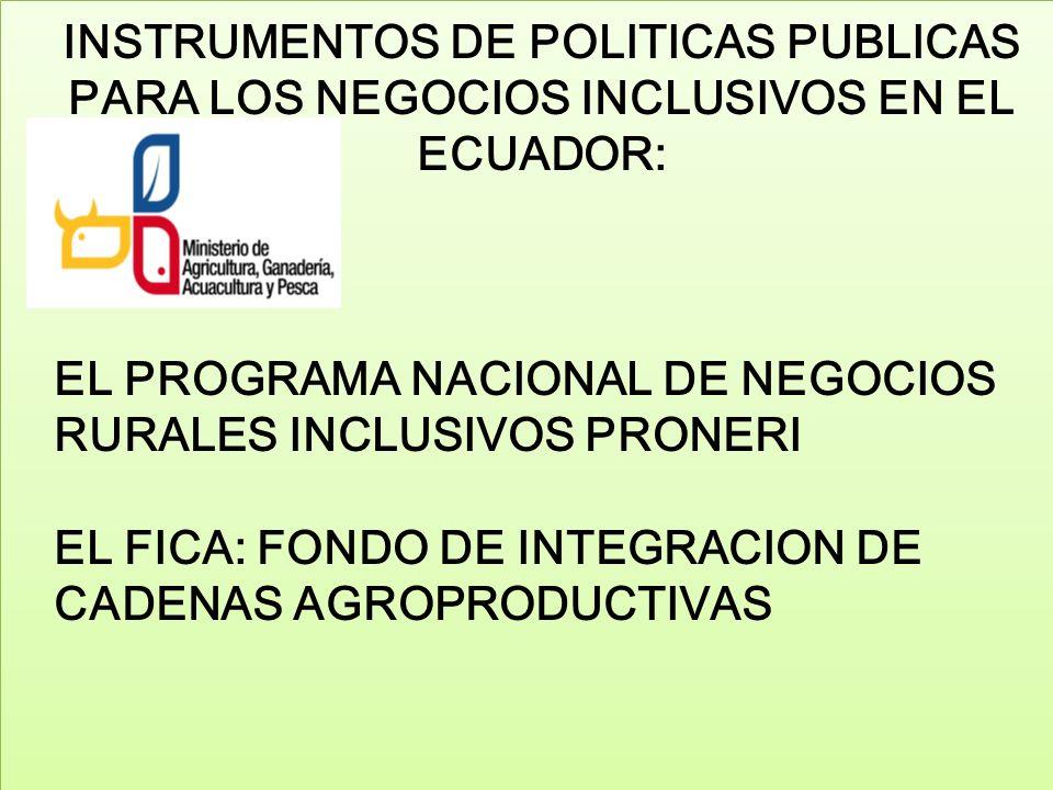 EL PROGRAMA NACIONAL DE NEGOCIOS RURALES INCLUSIVOS PRONERI