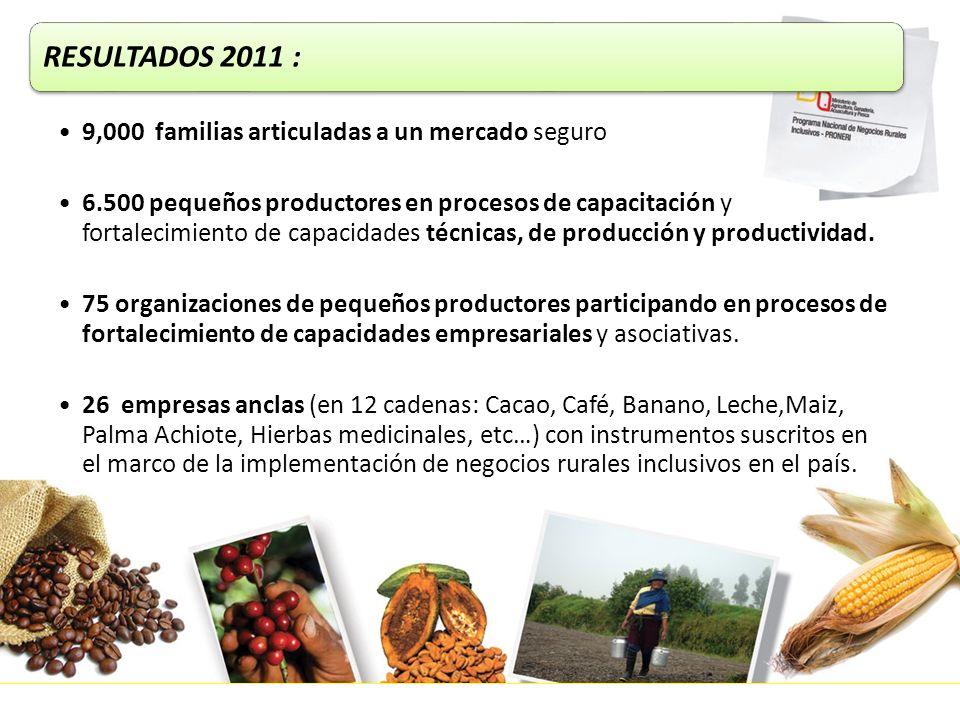 RESULTADOS 2011 : 9,000 familias articuladas a un mercado seguro