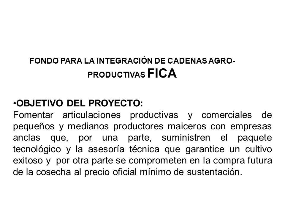 FONDO PARA LA INTEGRACIÓN DE CADENAS AGRO-PRODUCTIVAS FICA