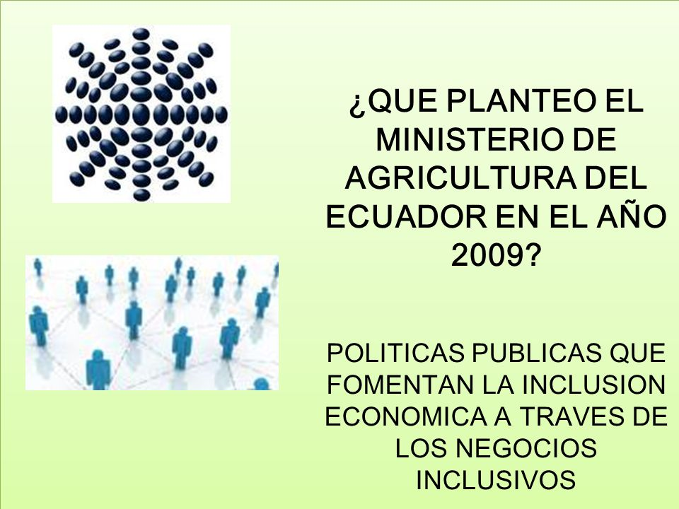 ¿QUE PLANTEO EL MINISTERIO DE AGRICULTURA DEL ECUADOR EN EL AÑO 2009