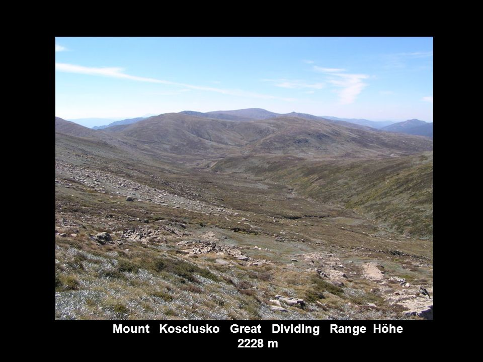 Mount Kosciusko Great Dividing Range Höhe 2228 m