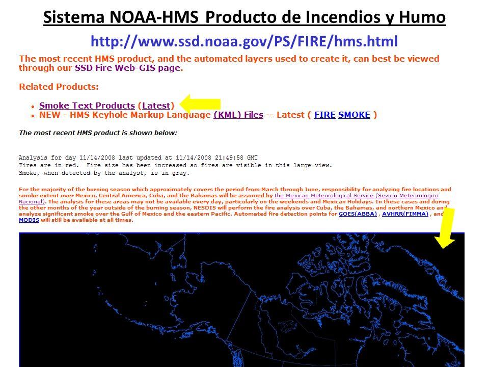 Sistema NOAA-HMS Producto de Incendios y Humo