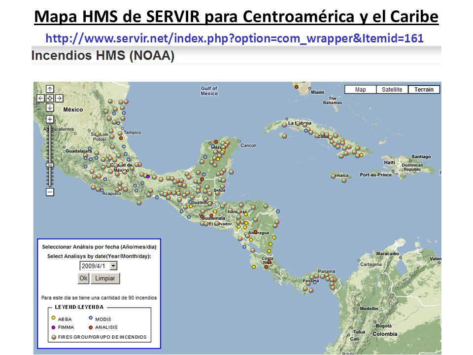 Mapa HMS de SERVIR para Centroamérica y el Caribe