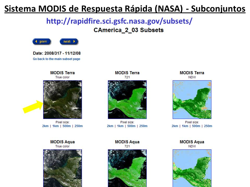 Sistema MODIS de Respuesta Rápida (NASA) - Subconjuntos