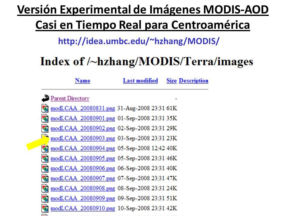 Versión Experimental de Imágenes MODIS-AOD Casi en Tiempo Real para Centroamérica