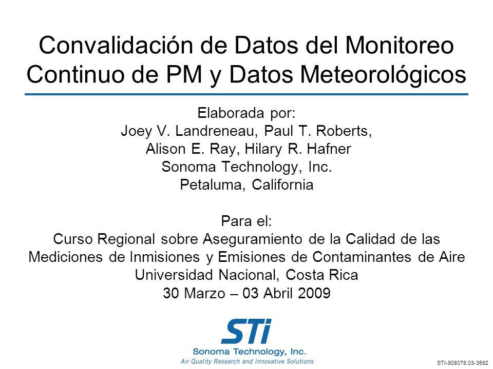 Convalidación de Datos del Monitoreo Continuo de PM y Datos Meteorológicos