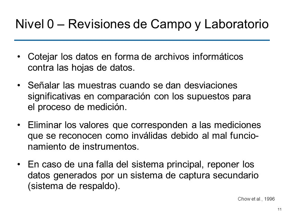 Nivel 0 – Revisiones de Campo y Laboratorio