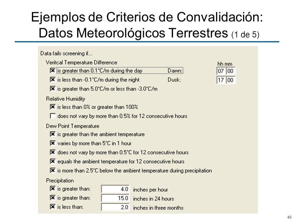 Ejemplos de Criterios de Convalidación: Datos Meteorológicos Terrestres (1 de 5)