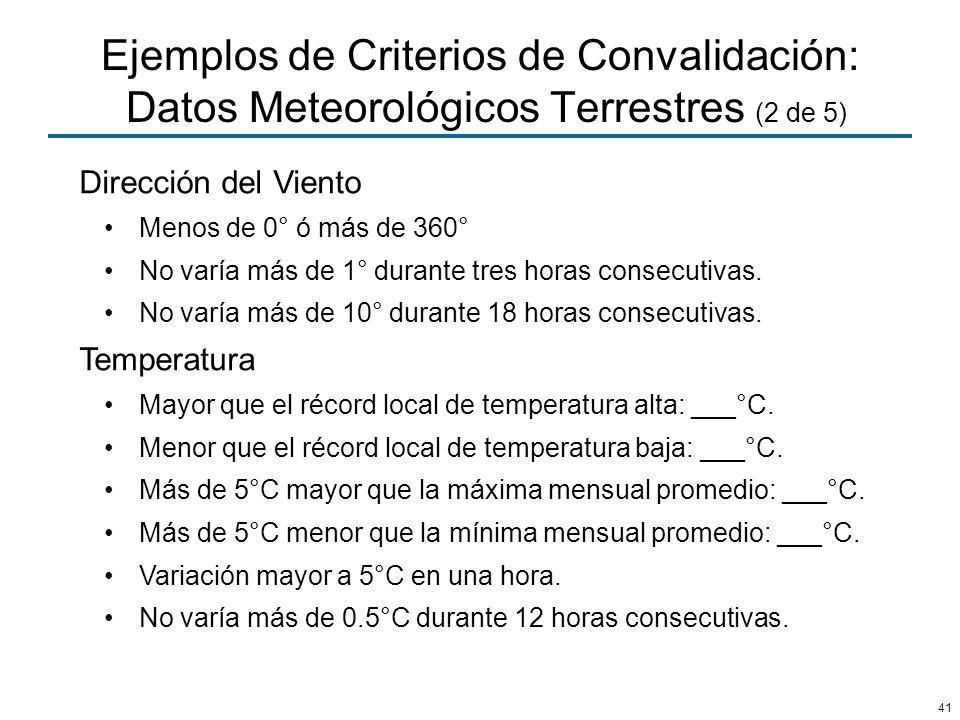 Ejemplos de Criterios de Convalidación: Datos Meteorológicos Terrestres (2 de 5)