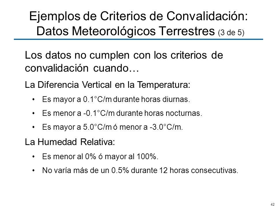 Ejemplos de Criterios de Convalidación: Datos Meteorológicos Terrestres (3 de 5)