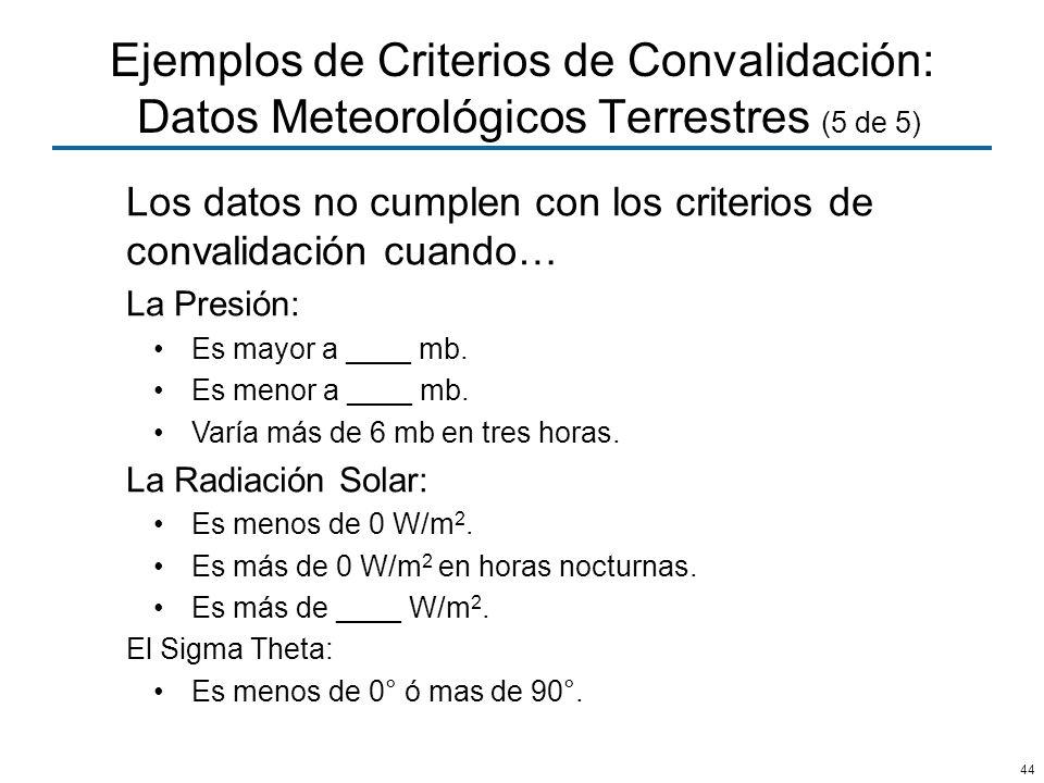 Ejemplos de Criterios de Convalidación: Datos Meteorológicos Terrestres (5 de 5)