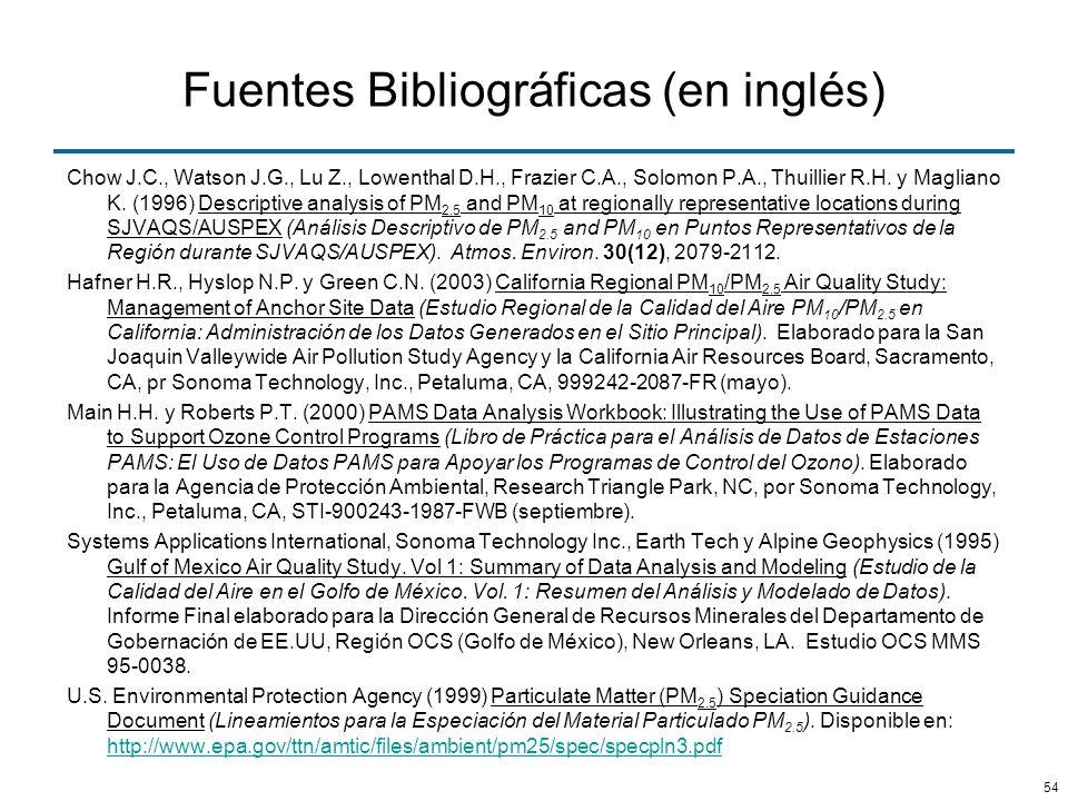Fuentes Bibliográficas (en inglés)