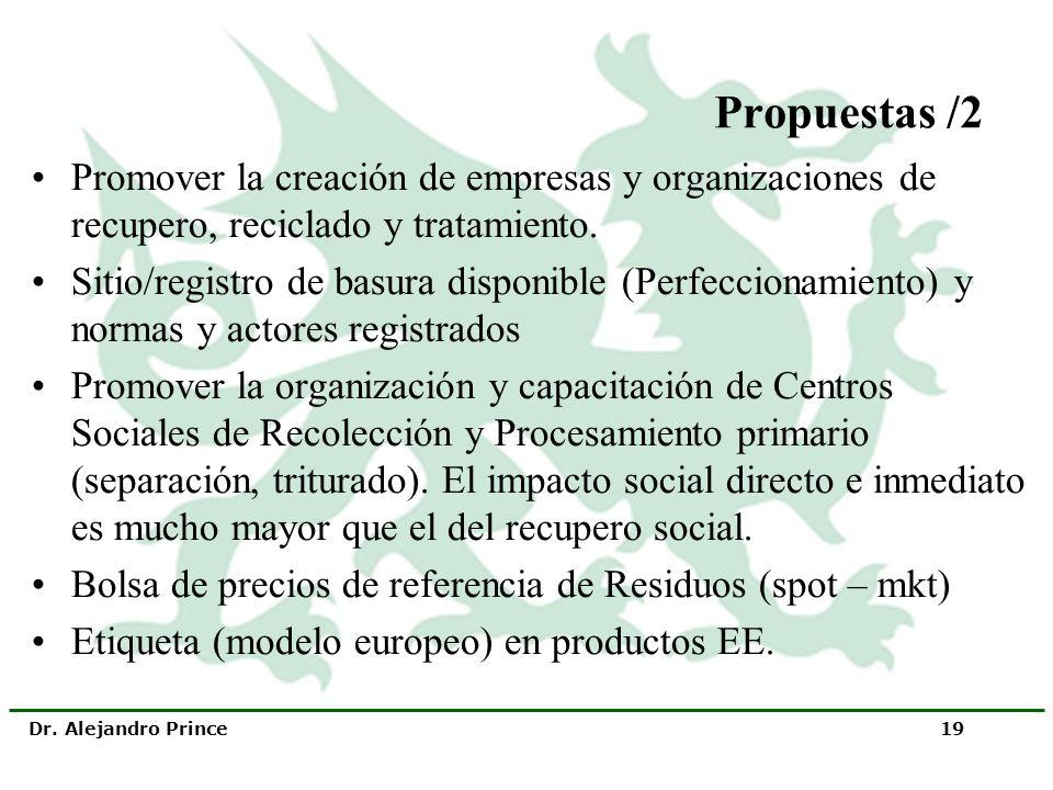 Propuestas /2 Promover la creación de empresas y organizaciones de recupero, reciclado y tratamiento.