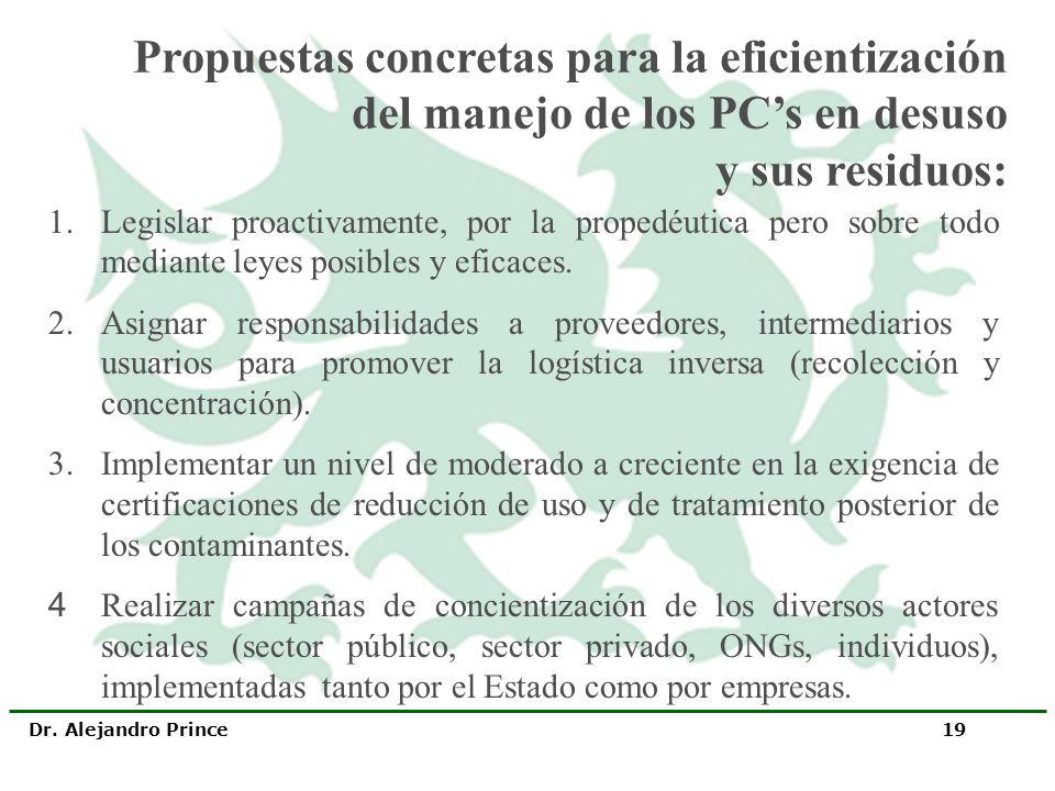 Propuestas concretas para la eficientización del manejo de los PC's en desuso y sus residuos: