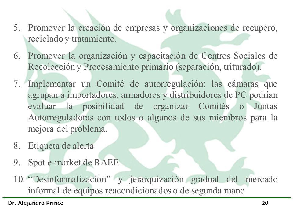 5. Promover la creación de empresas y organizaciones de recupero, reciclado y tratamiento.