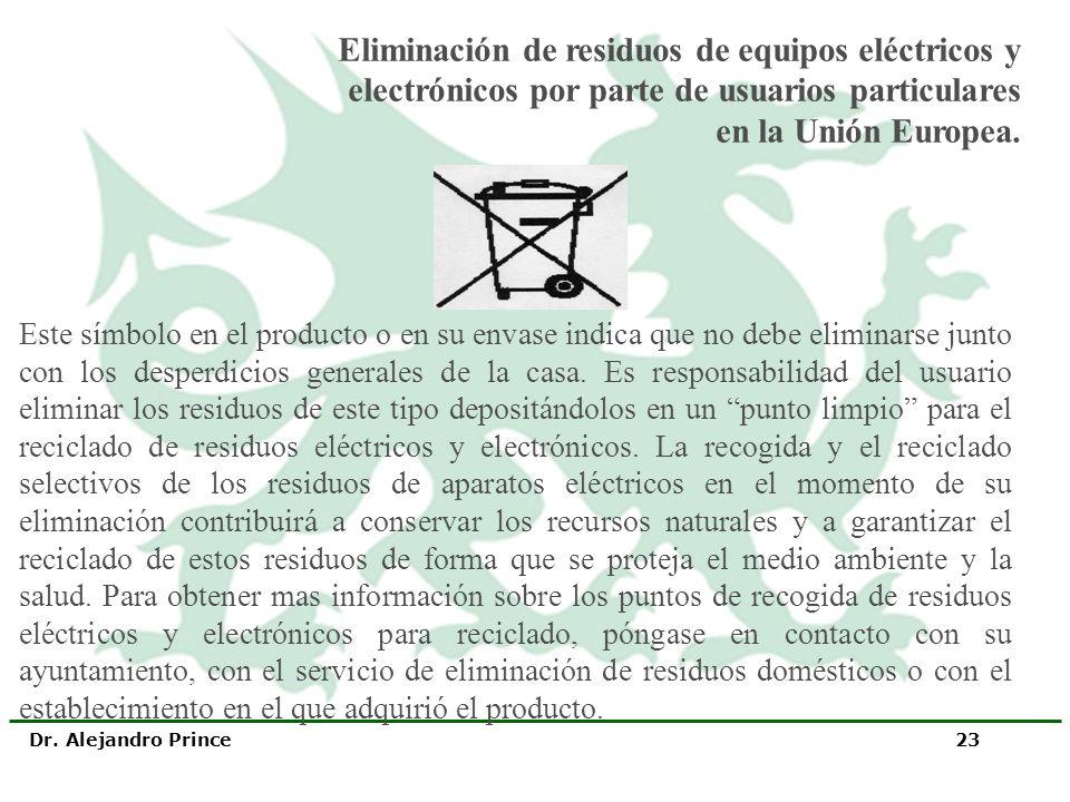 Eliminación de residuos de equipos eléctricos y