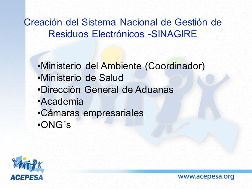 Creación del Sistema Nacional de Gestión de Residuos Electrónicos -SINAGIRE