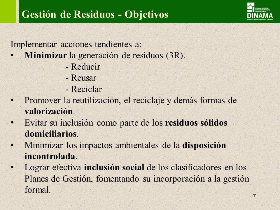 Gestión de Residuos - Objetivos
