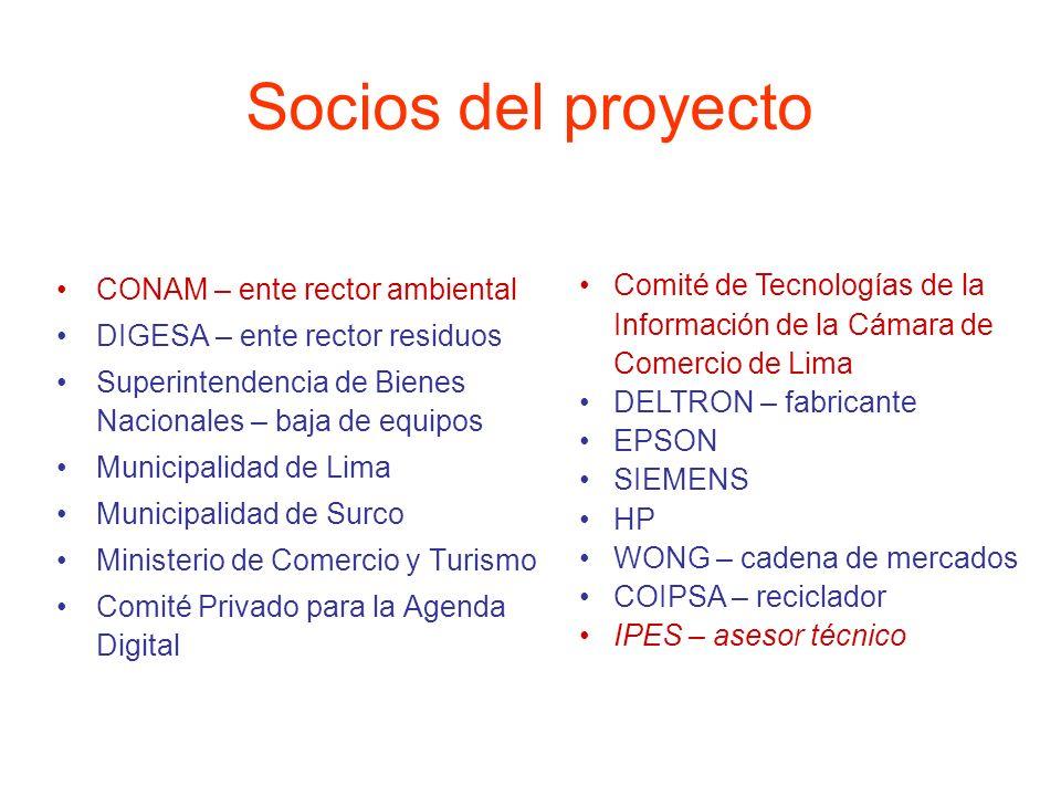 Socios del proyecto CONAM – ente rector ambiental. DIGESA – ente rector residuos. Superintendencia de Bienes Nacionales – baja de equipos.