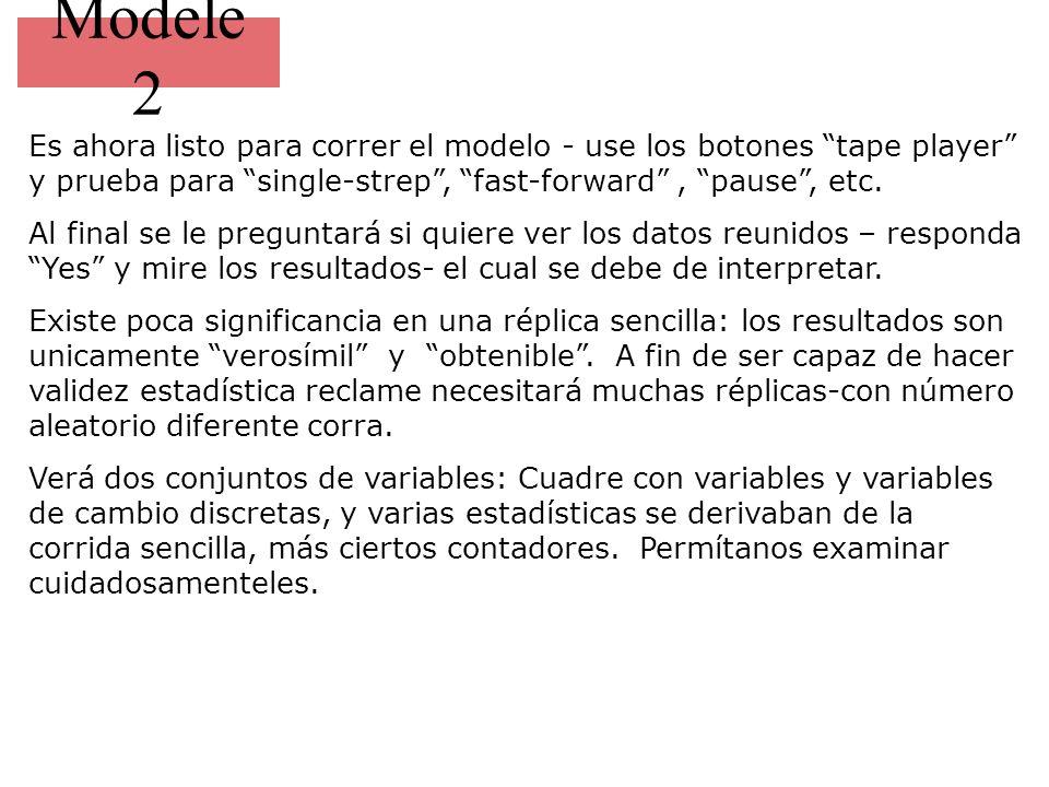 Modele 2 Es ahora listo para correr el modelo - use los botones tape player y prueba para single-strep , fast-forward , pause , etc.