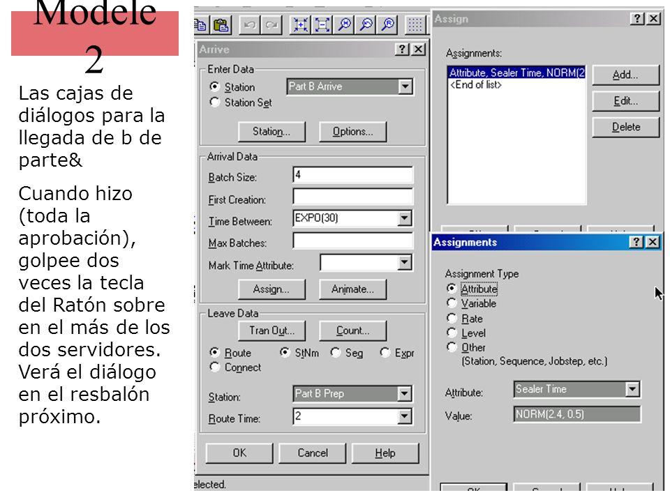 Modele 2 Las cajas de diálogos para la llegada de b de parte&